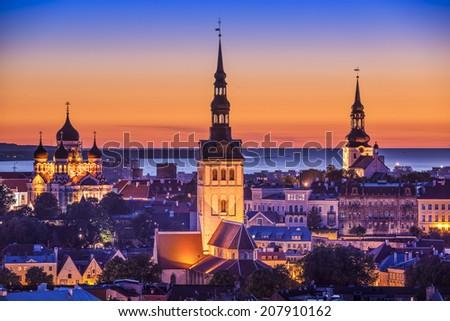 Tallinn, Estonia at sunset. - stock photo