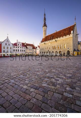 Tallinn, Estonia at the Old Town Hall Square. - stock photo