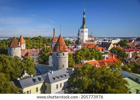 Tallinn, Estonia old city skyline. - stock photo