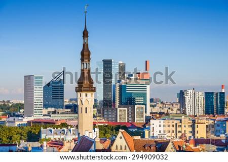Tallinn, Estonia skyline with modern and historic buildings. - stock photo