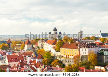 Tallinn, Estonia. View of the old city, streets and rooftops from above.