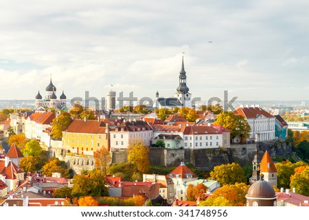 Tallinn, Estonia. View of the old city, streets and rooftops from above. - stock photo