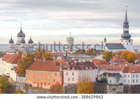 Tallinn, Estonia. View of the upper city on the hill Toompea. - stock photo