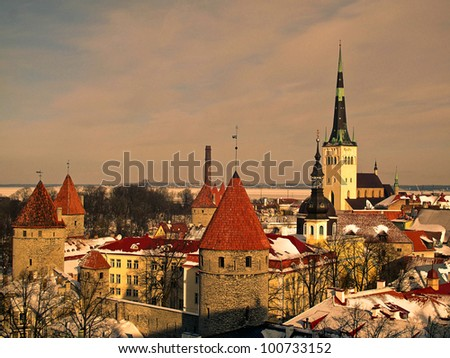 Tallinn old town in winter - stock photo