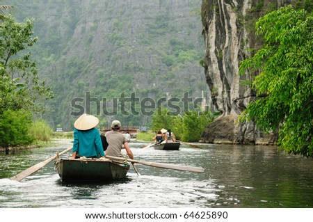 Tam Coc Natioanl Park, Karst formation in the water, Most spectacular scenery in Vietnam's - stock photo