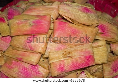 Tamales in a Market in Chiapas Mexico - stock photo