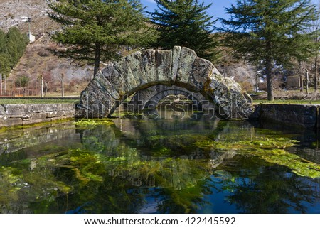 Tamarica spring or source that has the peculiarity of Welling, or stop and dry, randomly and without explanation. From this source are reports from Roman times . La Reana in Palencia Spain - stock photo
