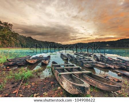 Tamblingan lake at sunrise time. Bali - stock photo