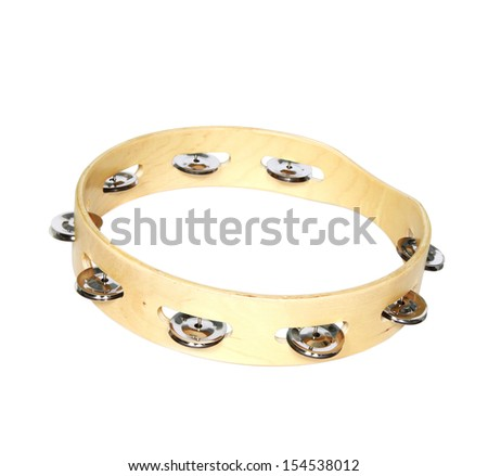 tambourine isolated on white - stock photo
