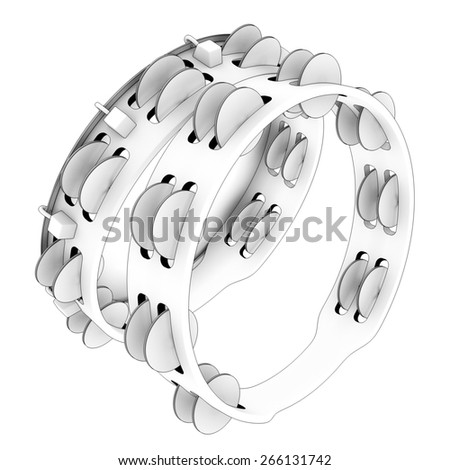 tambourine. Isolated on white background. 3d