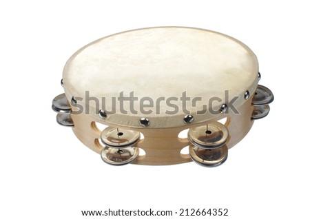 Tambourine on white background - stock photo