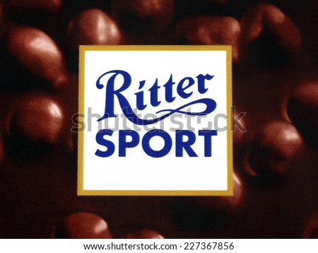 Tambov, Russian Federation - September 11, 2013: Close-up of Ritter Sport dark chocolate with hazelnuts pack. Stodio shot. Ritter Sport is a brand of chocolate for the Alfred Ritter GmbH & Co. KG.