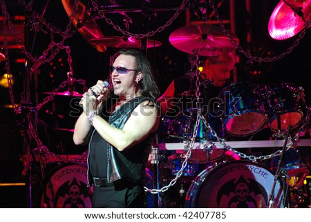 TAMPA, FL - FEBRUARY 12: Geoff Tate of Queensryche performing live at the Tampa Theater on February 12, 2008 in Tampa, Florida.