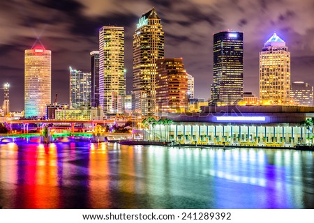 Tampa, Florida, USA downtown city skyline on the Hillsborough River. - stock photo