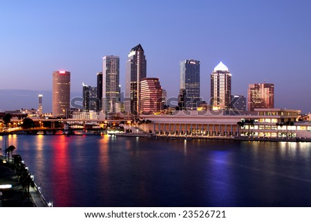 Tampa Skyline - Panorama night view on modern skyscrapers in business downtown - stock photo
