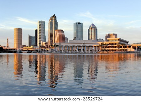 Tampa Skyline - Panorama view on modern skyscrapers in business downtown - stock photo