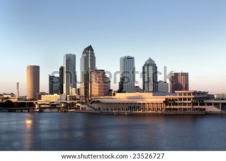 Tampa Skyline - Panoramatic view on modern skyscrapers in business downtown - stock photo