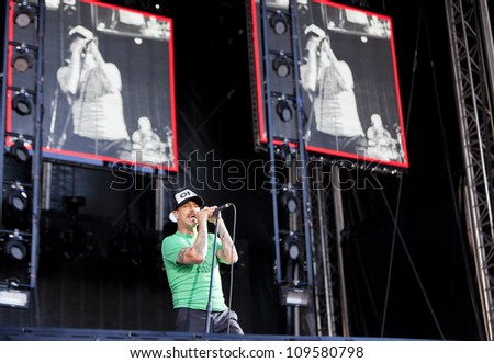 TAMPERE, FINLAND - AUGUST 1: Red Hot Chili Peppers performing live on stage August 1, 2012 at Ratina Stadium, in Tampere, Finland.