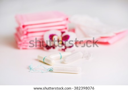 Tampons and pads. Healthcare and medicine - stock photo
