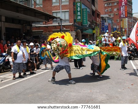 Tamsui,Taiwan - June 20 : The folk-custom acrobatics in the temple fair of  township on June 20,2007  in  Tamsui,Taipei,Taiwan. The fair held  annually on chinese lunar date of sixth in May.