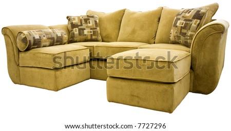 Tan Micro Fiber Sectional Sofa Group with Ottoman - stock photo