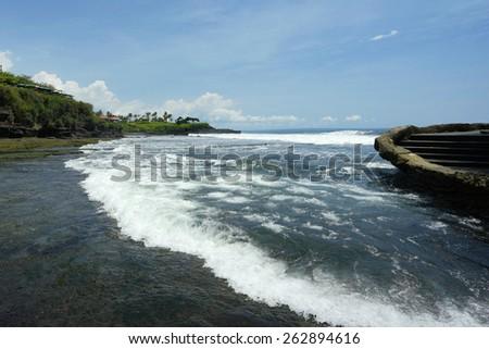 Tanah Lot Beach at Bali, Indonesia - stock photo