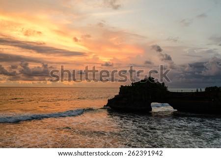 Tanah Lot Beach, Bali, Indonesia - beautiful coastline of Tanah Lot - stock photo