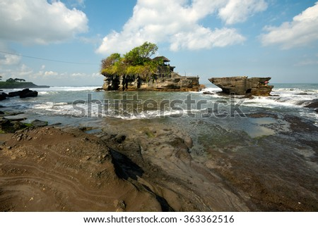 Tanah Lot Temple, in Bali, Indonesia - stock photo