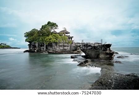 Tanah Lot Temple - Long exposure - stock photo