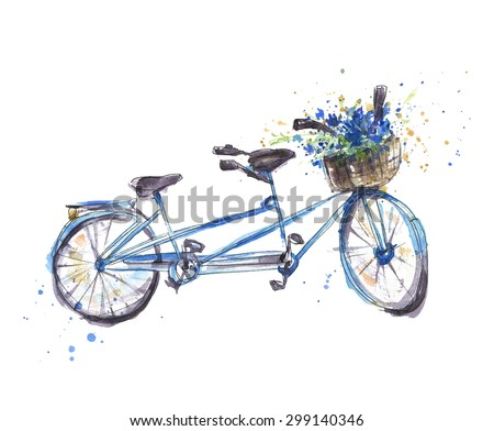 Tandem bicycle with flowers, Watercolor illustration  - stock photo