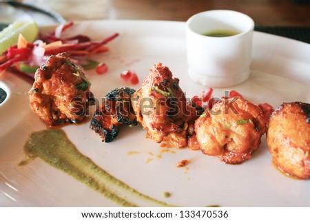 tandoori chicken tikka indian food - stock photo