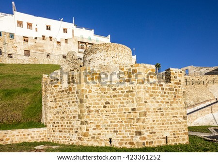 Tanger, Morocco, Medina, Ancient fortress in old town. - stock photo