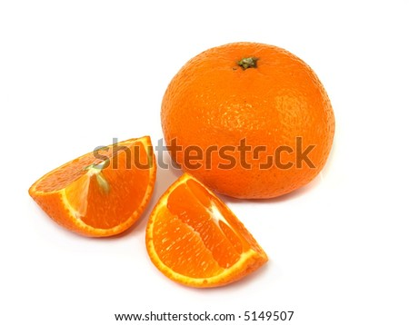 Tangerine and two pieces on white background - stock photo