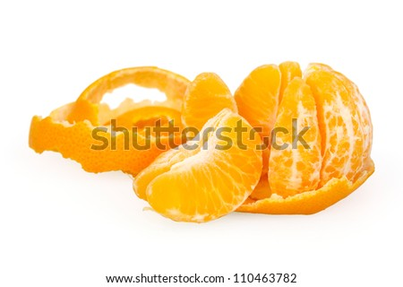 Tangerine isolated on white background with clipping path