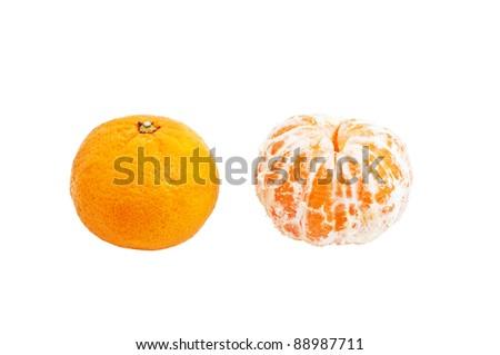 Tangerine on a white background - stock photo