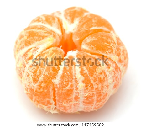 tangerine on white background - stock photo