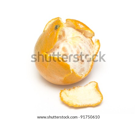 tangerine open on white background
