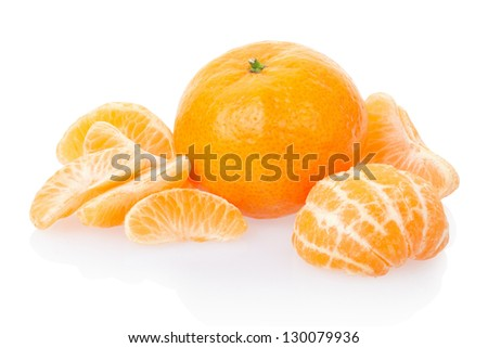 Tangerine or mandarin isolated on white, clipping path included