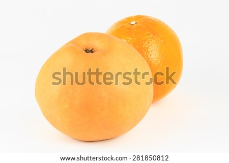 tangerine or orange and Chinese pear isolated on white background - stock photo