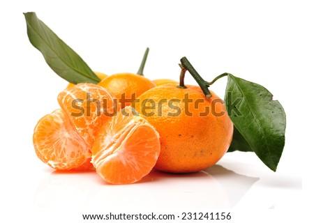 tangerine orange on white background  - stock photo