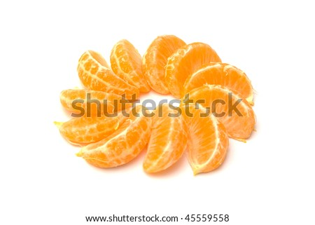 Tangerine slices isolated on a white background.