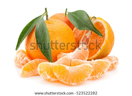 Tangerine tropical fruit isolated on white background
