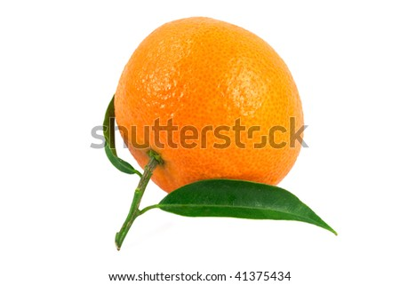 Tangerine with green leaves isolated on white background