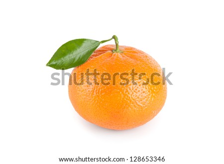 Tangerine with leaf isolated on white background - stock photo