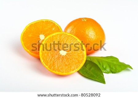 Tangerine with leafs
