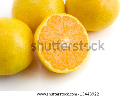tangerines isolated on the white background