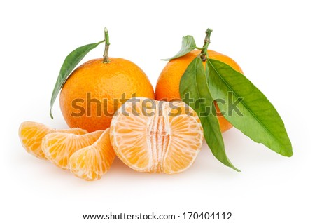 Tangerines isolated on white background with clipping path - stock photo