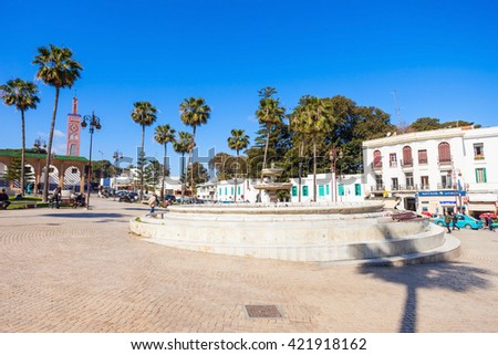TANGIER, MOROCCO - MARCH 02, 2016: Grand Socco (meaning Big Square, officially known as Place du Grand 9 Avril 1947) is a square in the medina area of central Tangier, Morocco.