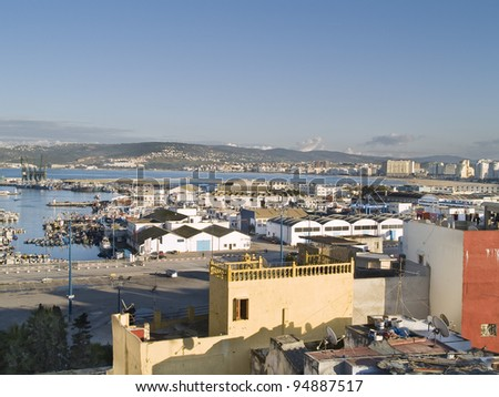 Tangier port view. City located northern of Morocco, is known by beaches and cosmopolitic life.