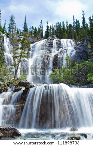 Tangle Falls in Jasper National Park, Alberta, Canada - stock photo
